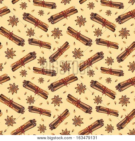 Watercolor seamless pattern with star anise and cinnamon sticks. Hand drawn watercolor illustration. Design by flyer, printing, mailing, invitation, card, menu of cafe, restaurant, fabric, textile