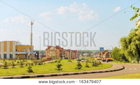 STROITEL BELGOROD REGION RUSSIA - JULE 02 2016: District center in the Belgorod region. Russian province. Typical landscaping Russian village and small towns. Housing estate and an indoor pool.