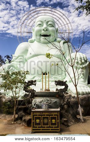 Laughing Buddha Statue Near Linh An Tu Temple, Dalat, Vietnam