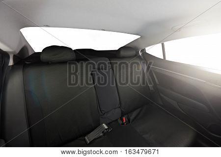 Modern sedan back black cloth seat with isolated windows