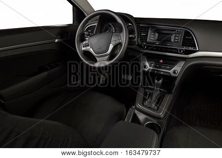 Driver modern car empty seat dashboard with isolated windows