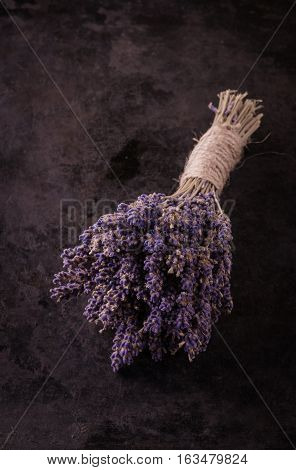 Bunch Of Purple Lavender Flower On Black Tray