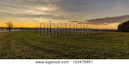 Evening Scene Of Autumn Field After Sunset