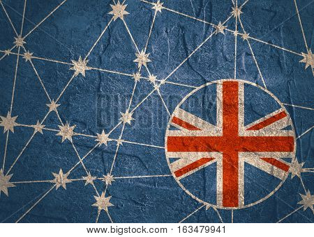 Australia flag design concept. Image relative to travel and politic themes. Molecule And Communication Background. Grunge texture. Connected lines with stars.