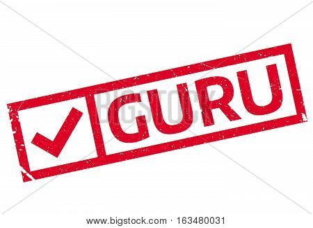 Guru rubber stamp. Grunge design with dust scratches. Effects can be easily removed for a clean, crisp look. Color is easily changed.