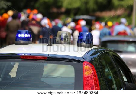 Car Of The Italian Carabinieri Police In The Division During The Patrolling Of The City