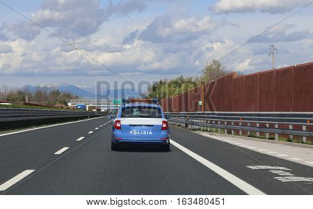 Italian Police Car Patrolling On The Highway