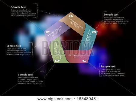 Illustration infographic template with motif of pentagon regularly divided to five color sections. Each part consists of text and simples sign. Blurred photo with color dices is used as background.