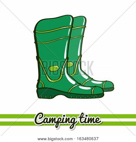 Hand drawn rubber boots isolated on white background. One image of series Camping time. Vector illustration