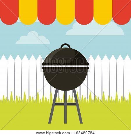 barbecue grill icon. delicious barbecue concept. colorful design. vector illustration