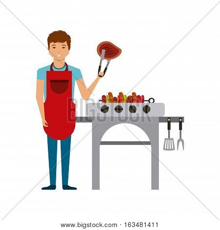 cartoon man with barbecue grill and grilled food icon. delicious barbecue concept. colorful design. vector illustration