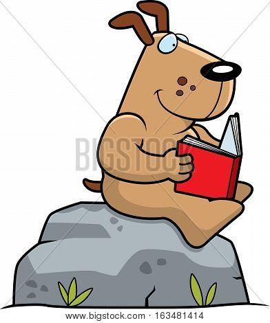 Cartoon Dog Reading