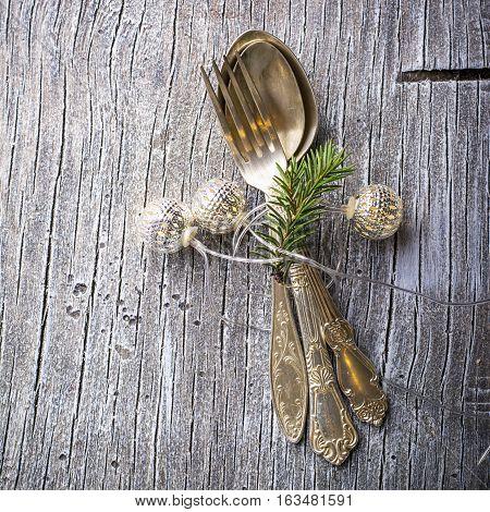 Vintage old cupronickel cutlery, horizontal. Top view