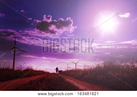 Man walking with his dog on the field with windmills. Beautiful nature background with setting sun and pink sky