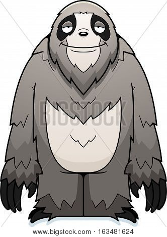 A cartoon illustration of a sloth standing and smiling.