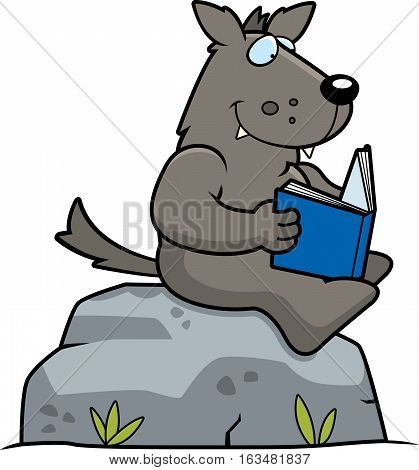 Cartoon Wolf Reading