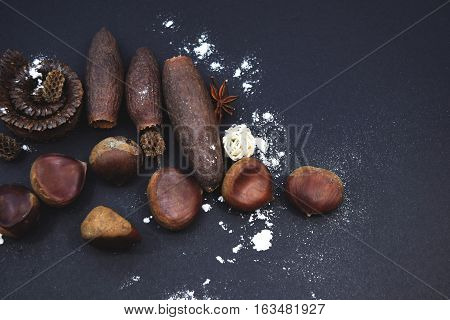 The Christmas composition on a black background. A Chestnuts, Anise, Jequitiba and Casuarina. Top view