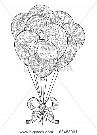 Group of balloons on a string coloring book for adults vector illustration. Anti-stress coloring for adult. Hand drawn, isolated on a white background. Zentangle style. Black and white. Lace pattern