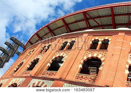 View of bullring Arenas de Barcelona, Spain