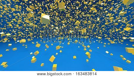yellow 3d cubes in blue background 3d illustration clipart