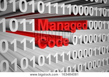 Managed code in the form of binary code, 3D illustration