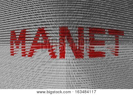 MANET in the form of binary code, 3D illustration