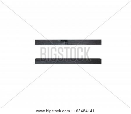Alphabet Black Wooden Texture Equal Sum Sing Mark Letter. 3D Rendering Illustration