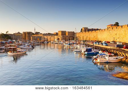 RHODES, GREECE - DECEMBER 06, 2016: World heritage site of the medieval town of Rhodes on December 06, 2016.