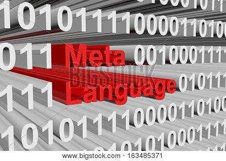 Meta Language in the form of binary code, 3D illustration