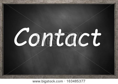 contact standing on black chalkboard 3D Illustration