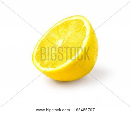 Juicy yellow slice of lemon white background isolated with clipping path