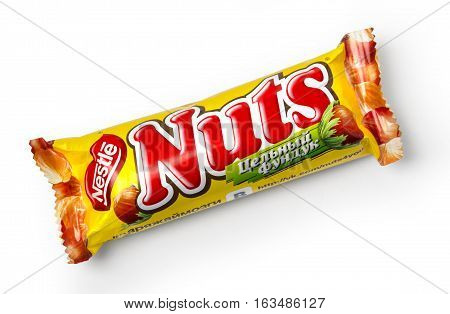 CHISINAU MOLDOVA - NOVEMBER 14 2015: Closeup of Nuts candy chocolate bar made by Nestle isolated on white with clipping path