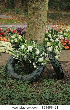 Sympathy wreaths near a tree on a cemetery