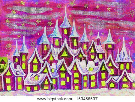 Hand painted illustration watercolours fairy town in pink and crimson colours can be used as illustration for children's fairy tales Christmas picture etc.