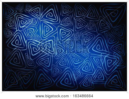 Illustration of Beautiful Blue Vintage Texture Background with Triangle Spiral Pattern for Add Content or Picture.