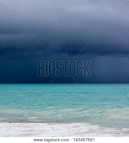 Storm and hurricane on the beach of Varadero Cuba