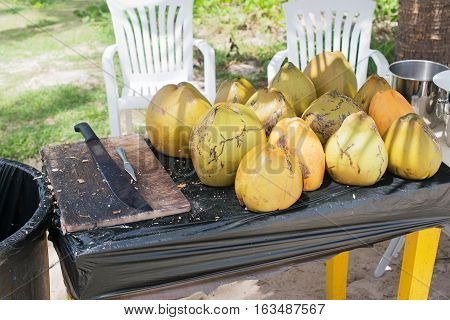 coconut bowl it is peeled with a machete