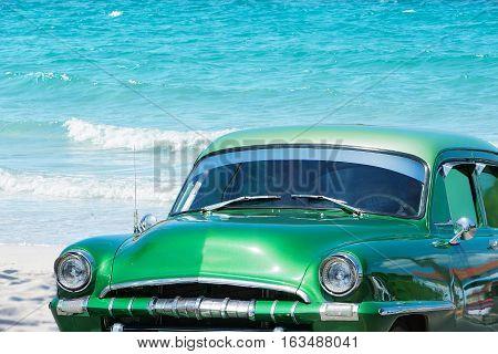Varadero, Cuba - September 09, 2016: American Classic Car on the Beach, Varadero Cuba