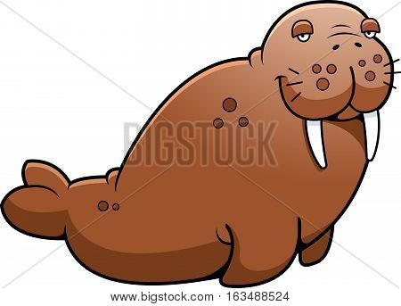 A cartoon illustration of a brown walrus sitting.