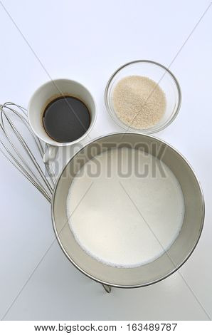 Ingredients for making of Italian specialty frozen coffee drink - Crema di caffe