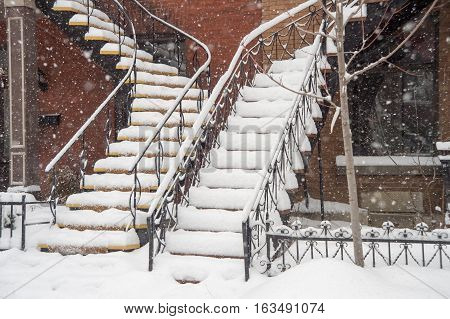 Staircases covered by snow In Montreal during snowstorm