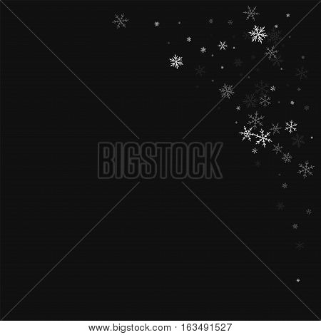 Sparse Snowfall. Top Right Corner On Black Background. Vector Illustration.