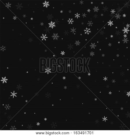 Sparse Snowfall. Random Scatter On Black Background. Vector Illustration.