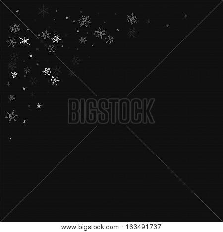 Sparse Snowfall. Top Left Corner On Black Background. Vector Illustration.