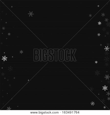 Sparse Snowfall. Messy Border On Black Background. Vector Illustration.