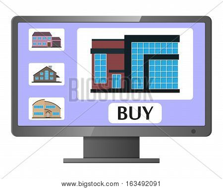 Computer monitor with realty selling web site. House sale. Realty selling application.Vector illustration