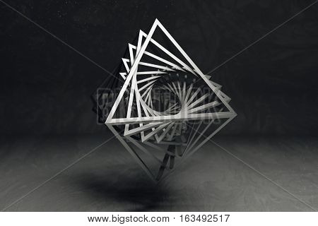 Hollow octahedron flevitating on grey textured background