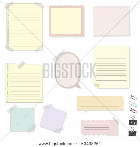 Paper torn page notes. Blank notepad pages with adhesive tape pieces. Paper glued to wall with tape