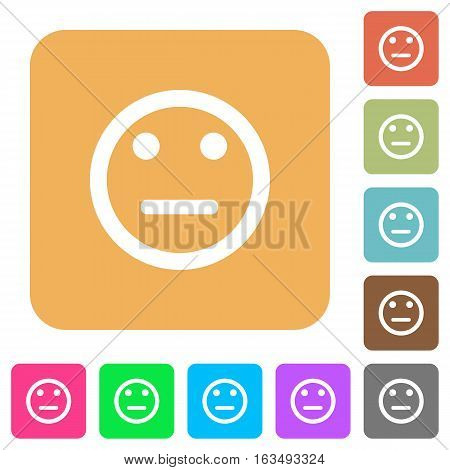 Neutral emoticon icons on rounded square vivid color backgrounds.