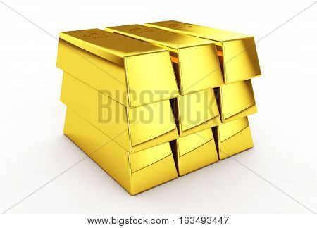 stack of shiny gold ingots bars or bullion isolated on white background 3d render